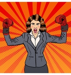 Business Woman in Boxing Gloves Pop Art vector image