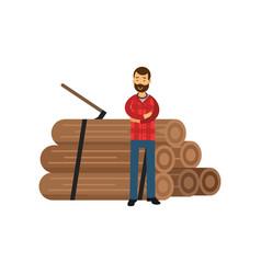 Cartoon bearded woodcutter in hipster plaid shirt vector