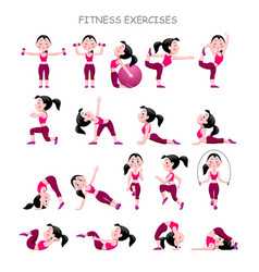 cartoon girl in pink suit doing fitness exercises vector image