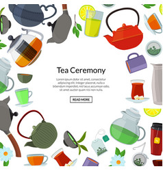 cartoon tea kettles and cups background vector image