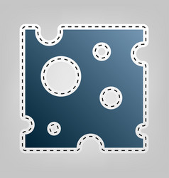 cheese slice sign blue icon with outline vector image