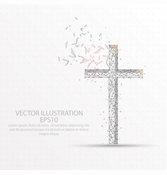 Christian cross low poly wire frame on white vector