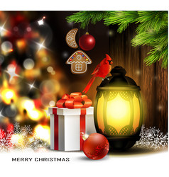 christmas tree light background lantern vector image