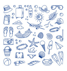 Collection of beach and tropical themed vector