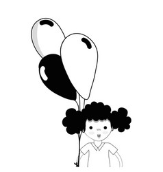 Contour cute girl with balloons in the hand vector