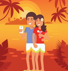 Couple vacation selfie 3 vector
