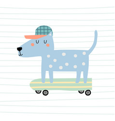 cute cartoon dog on skateboard colorful vector image