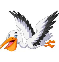 cute cartoon pelican is flying vector image