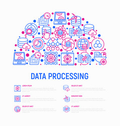 data processing concept in half circle vector image