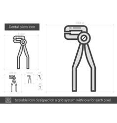 Dental pliers line icon vector