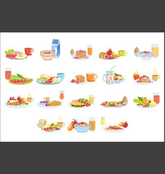 Different breakfast food and drink sets vector