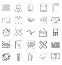 effective learning icons set outline style vector image