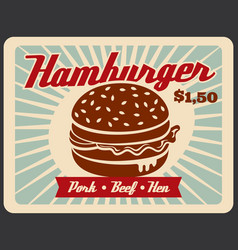 Fast food retro poster with hamburger sandwich vector