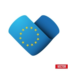 Flag icon in the form of heart I love Europe vector