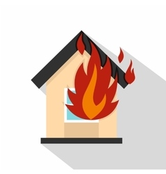 Flames from house window icon flat style vector