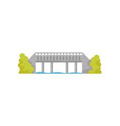 flat icon of big stone bridge blue water vector image