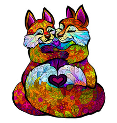 foxes graphic color image a two foxes vector image