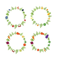 Frames with fruits and vegetables vector image