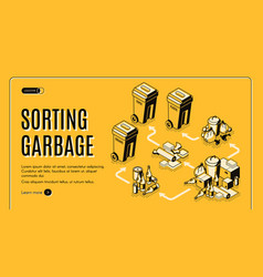 Garbage sorting service isometric website vector