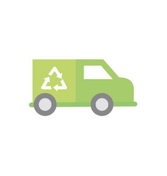 garbage truck recycle green energy icon vector image