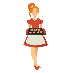 girl holding tray with cookies isolated female vector image