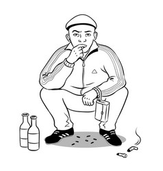 Gopnik hooligan man coloring book vector