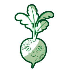 Green silhouette of beet caricature with stem and vector