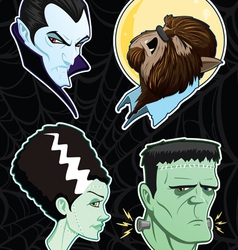 Halloween monster heads vector