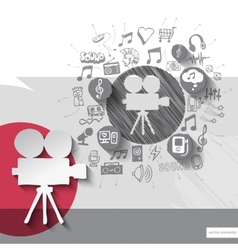 Hand drawn video camera icons with icons vector