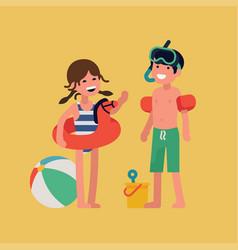 Happy beach kids vector