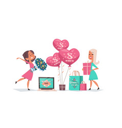 Happy girls celebrating womens day 8 march holiday vector
