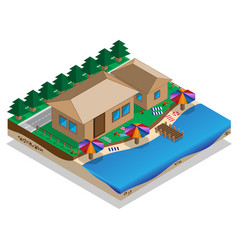 house on shore vector image