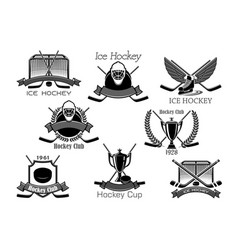 ice hockey club tournament cup award icons vector image