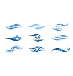 Israel independence day and abstract flag icons vector image
