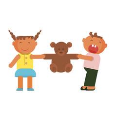 kids plays with teddy bear vector image vector image
