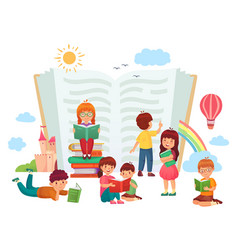 kids reading books children in group enjoying vector image