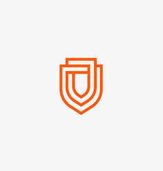 Linear shield logo line protection vector
