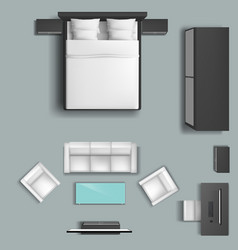 living room and bedroom furniture set vector image