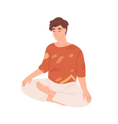 man with closed eyes meditating with his legs vector image