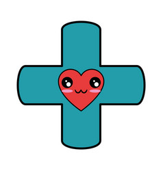 Medical cross symbol kawaii cartoon vector