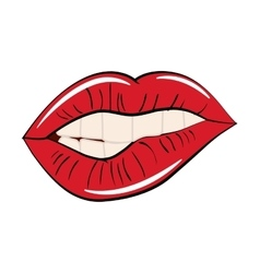 mouth female lips red retro icon graphic vector image