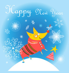 New year card with a yellow do vector