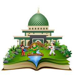 open a book with group of happy muslims people in vector image