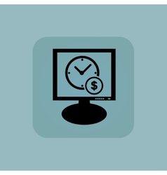 Pale blue time money monitor vector