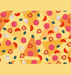 pizza seamless pattern vegetables ingredients vector image