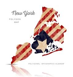 polygon map new york vector image