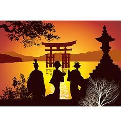 postcard sights japan vector image