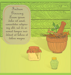 Potion making set with indian ginseng herb vector