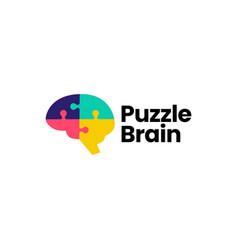 Puzzle brain logo icon vector