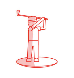 Red shading silhouette cartoon faceless full body vector